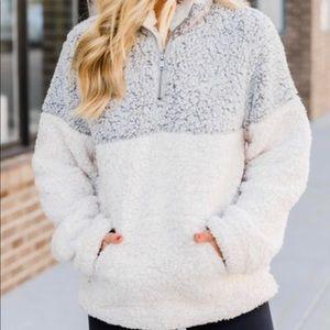 Gray/white Sherpa Half Zip Pullover